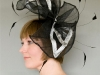 headpiece with sinamay rolled edges and coque-feathers